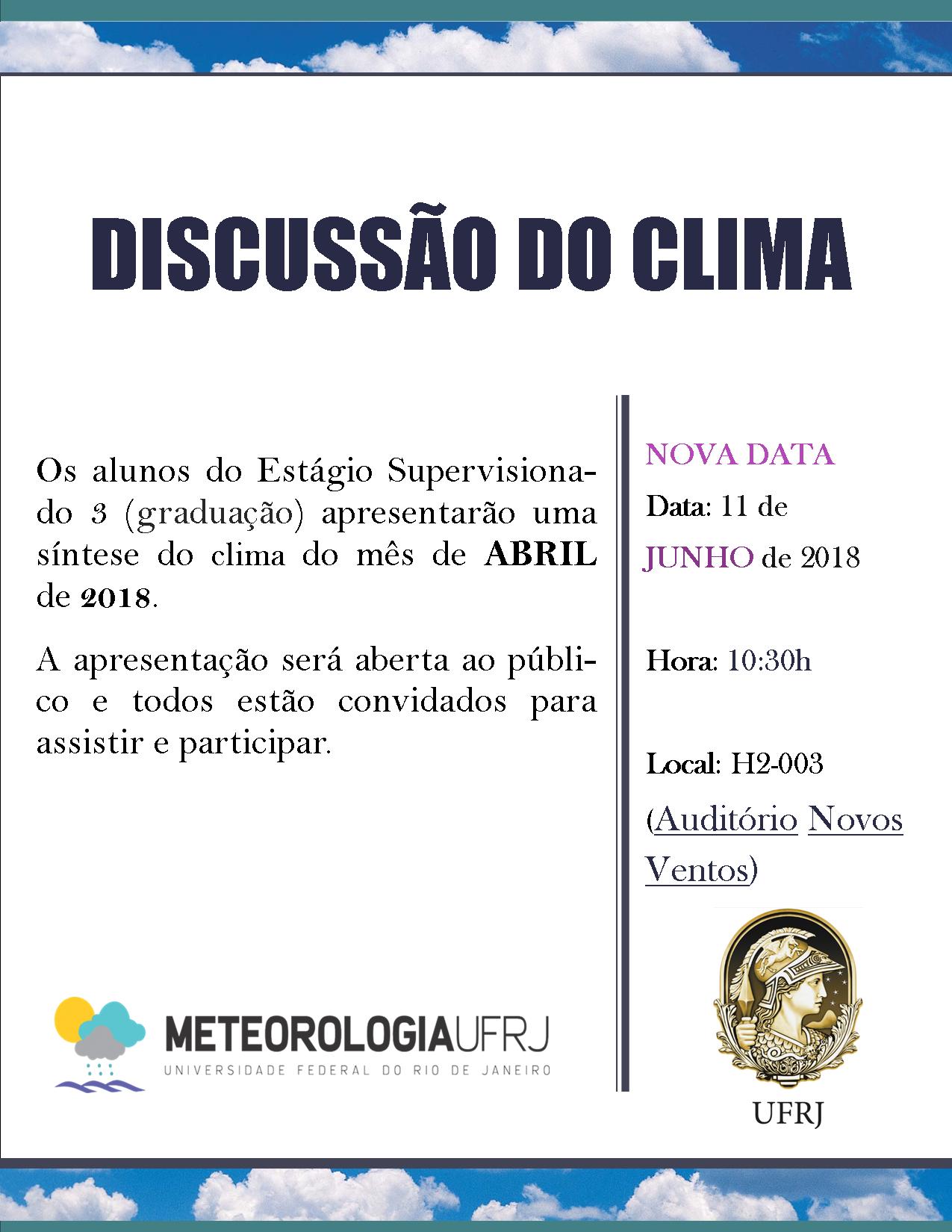 Discussão do Clima do Mês de Abril de 2018