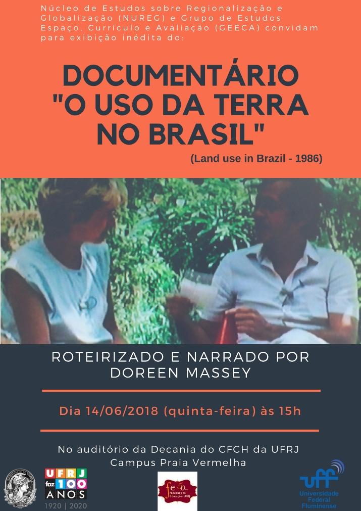 """Exibição do Documentário """"Land use in Brazil"""", narrado e roteirizado por Doreen Massey (1986), seguido de debate, dinamizado pelo NUREG/UFF."""