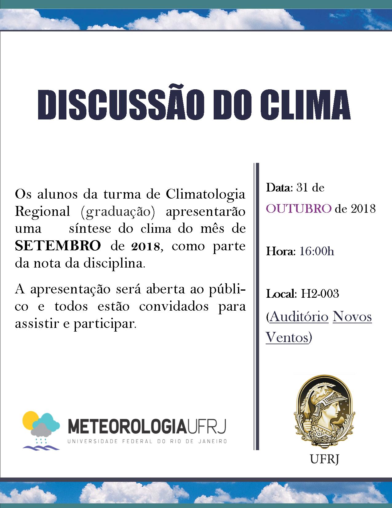 Discussão do Clima do mês de setembro