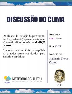 Discussão do Clima - abril de 2019